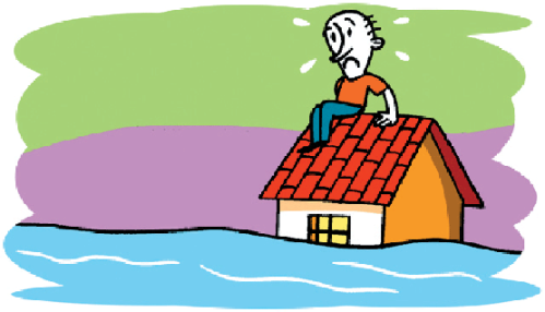 Hombre sobre su tejado en una inundación